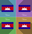 Flags cambodia set of colors flat design and long vector
