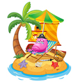 A pink monster in the island vector