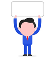 Businessman holding placard vector