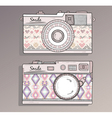 Retro photo cameras set vector