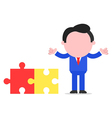 Businessman beside puzzle pieces vector
