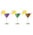 Three glasses of cocktail drinks vector