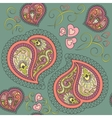 Heart paisley seamless pattern vector