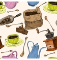 Coffee set seamless colored pattern vector