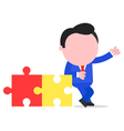 Businessman leaning on puzzle pieces vector