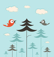 Trees birds and clouds retro flat design vector