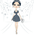 Fashion girl top model on the catwalk vector