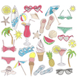 Summer beach elements set vector