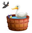 A bathtub with birds vector