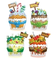 Seasons cupcakes on a white background vector