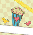 Cute muffin with birds vector