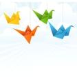 Origami paper birds flight abstract background vector