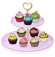 Cupcakes in the cupcake tray vector