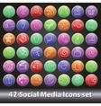 Social media icons setround volume button vector