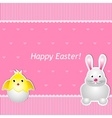 Easter card with chick and hare vector