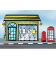 A fashion store and a callbox vector