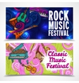 Music horizontal banners vector