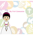 Girl first communion invitation vector