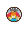 Captain hook pirate circle cartoon vector