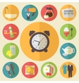 Morning time morning occupation icons set flat vector