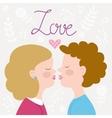 Children couple kissing vector