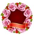 Pink rose frame vector
