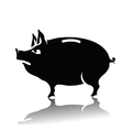 Silhouette of piggy bank vector