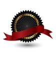 Black label with red ribbon vector