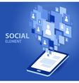 Social icon group element flirtation blue vector