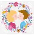 Kids couple kissing vector
