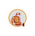 Fireman firefighter holding fire axe circle vector