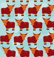 Asian yak bull seamless pattern with funny cute vector