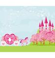 Beautiful fairytale pink castle vector