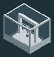 Dark isometric 3d printer vector