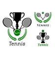 Tennis sporting emblems set vector
