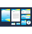 Professional corporate identity yellow blue white vector