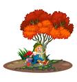 A happy young gardener vector