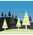 Silhouette landscape - stylized colorful trees vector