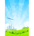 Green landscape with city vector