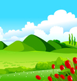 Blue sky green fields and distant hills vector