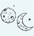 Moon and lunar craters vector