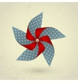 Vintage handmade red and blue pinwheel with dots vector