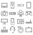 Set of linear icons computer and other equipment vector