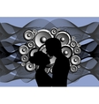 Silhouette of boy and girl on abstract music vector
