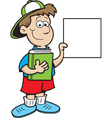 Cartoon boy holding a sign vector