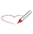 Red felt-tip and heart vector