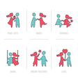 Valentines day flat icons- couple in love vector