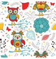 Cute colorful pattern with funny owls and flowers vector