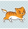 Red cute funny cat run vector