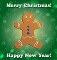 Gingerbread man new year greeting card vector